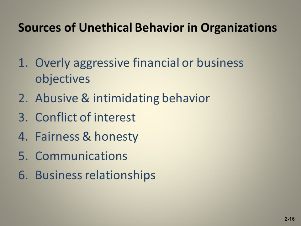 1.Overly aggressive financial or business objectives 2.Abusive & intimidating behavior 3.Conflict of interest 4.Fairness & honesty 5.Communications 6.Business relationships Sources of Unethical Behavior in Organizations 2-15