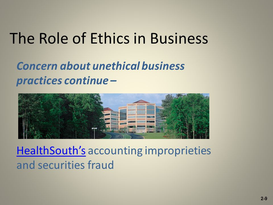 The Role of Ethics in Business Concern about unethical business practices continue – HealthSouth'sHealthSouth's accounting improprieties and securities fraud 2-9