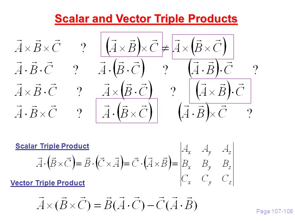 Scalar and vector product