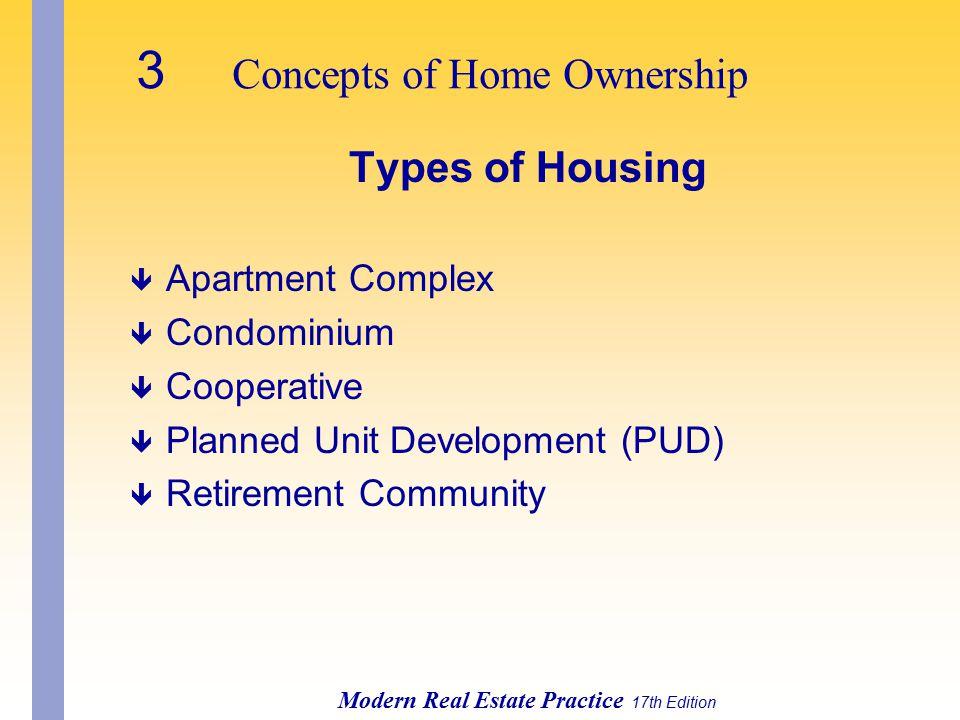 3 Concepts of Home Ownership Modern Real Estate Practice 17th Edition Types of Housing ê Apartment Complex ê Condominium ê Cooperative ê Planned Unit Development (PUD) ê Retirement Community