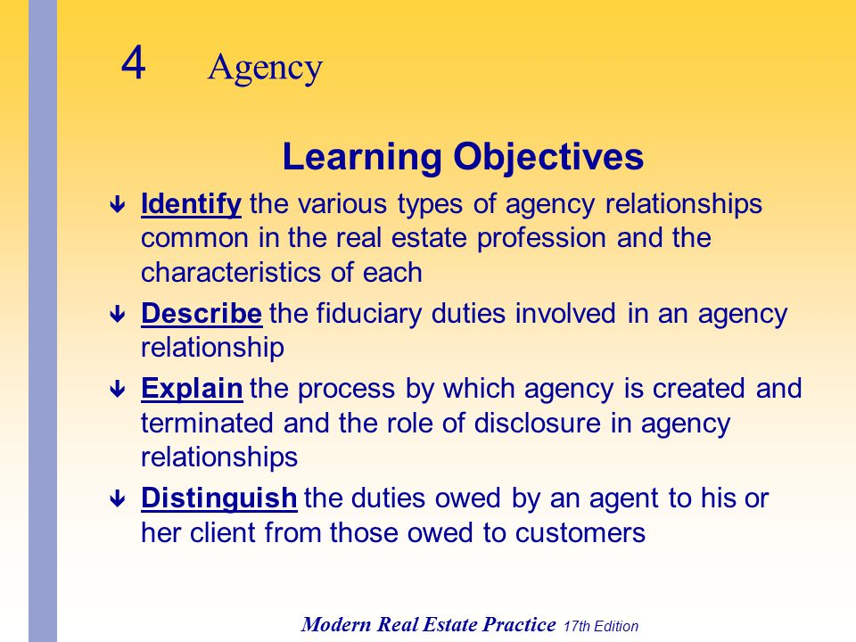 4 Agency Modern Real Estate Practice 17th Edition Learning Objectives ê Identify the various types of agency relationships common in the real estate profession and the characteristics of each ê Describe the fiduciary duties involved in an agency relationship ê Explain the process by which agency is created and terminated and the role of disclosure in agency relationships ê Distinguish the duties owed by an agent to his or her client from those owed to customers