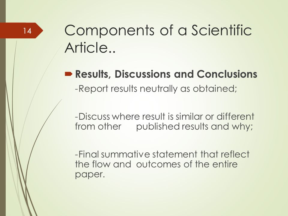 Components of a Scientific Article..