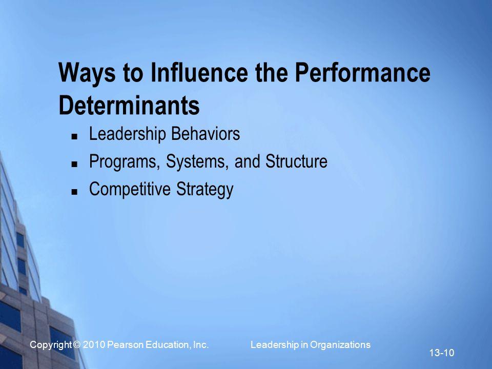 Copyright © 2010 Pearson Education, Inc. Leadership in Organizations 13-10 Ways to Influence the Performance Determinants Leadership Behaviors Program