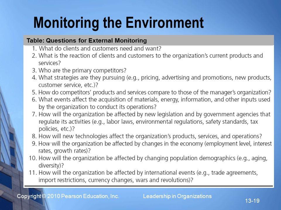 Copyright © 2010 Pearson Education, Inc. Leadership in Organizations 13-19 Monitoring the Environment Table: Questions for External Monitoring