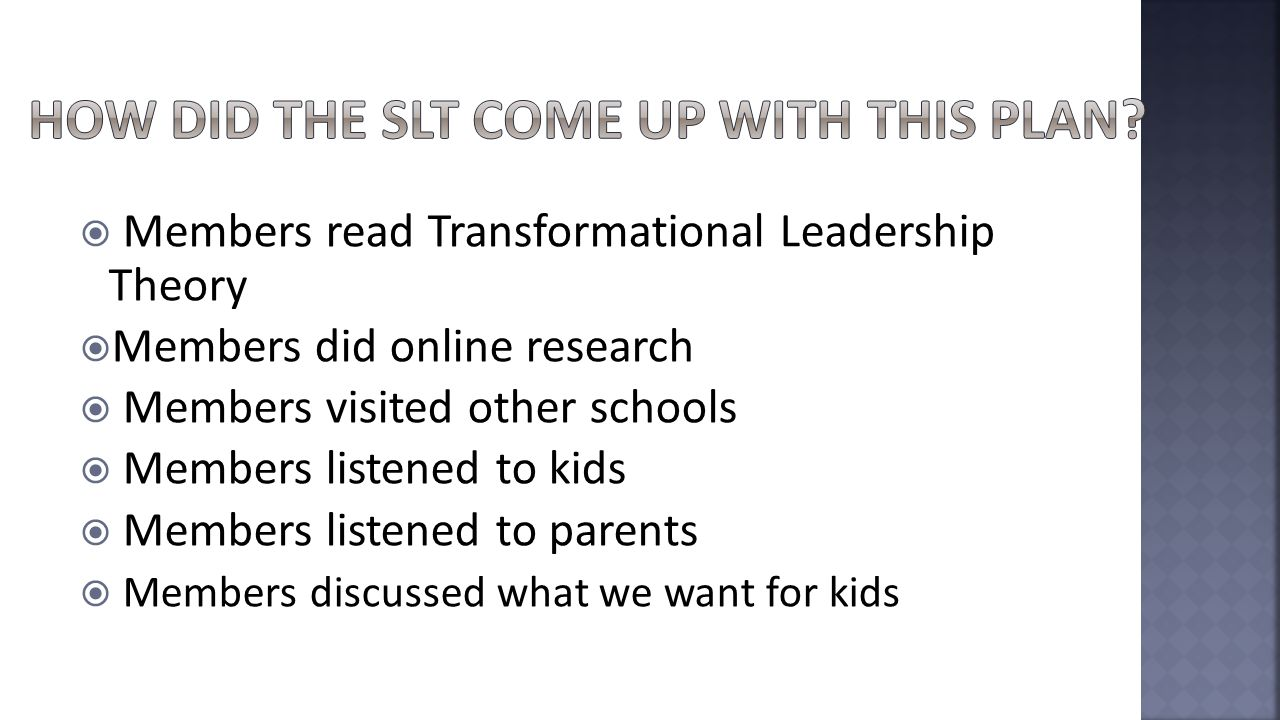  Members read Transformational Leadership Theory  Members did online research  Members visited other schools  Members listened to kids  Members listened to parents  Members discussed what we want for kids