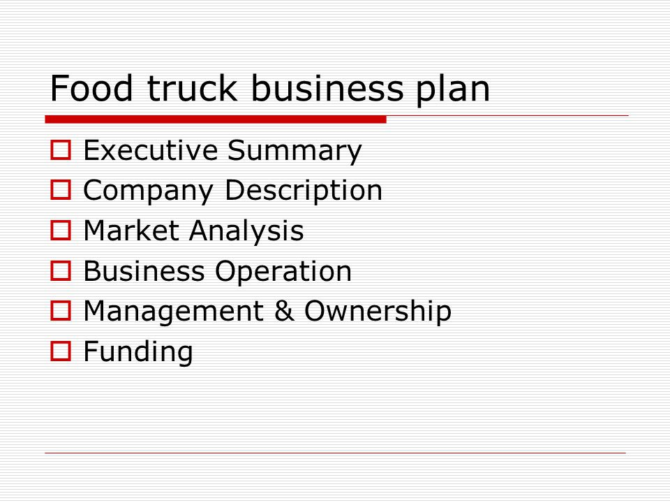 Food business plan