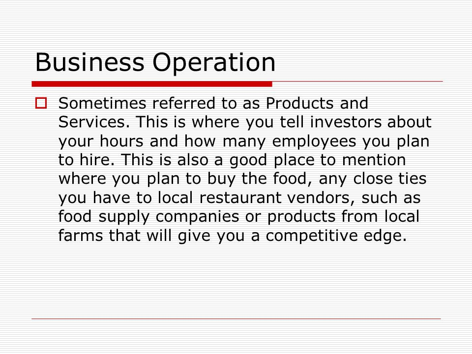 Operation business plan