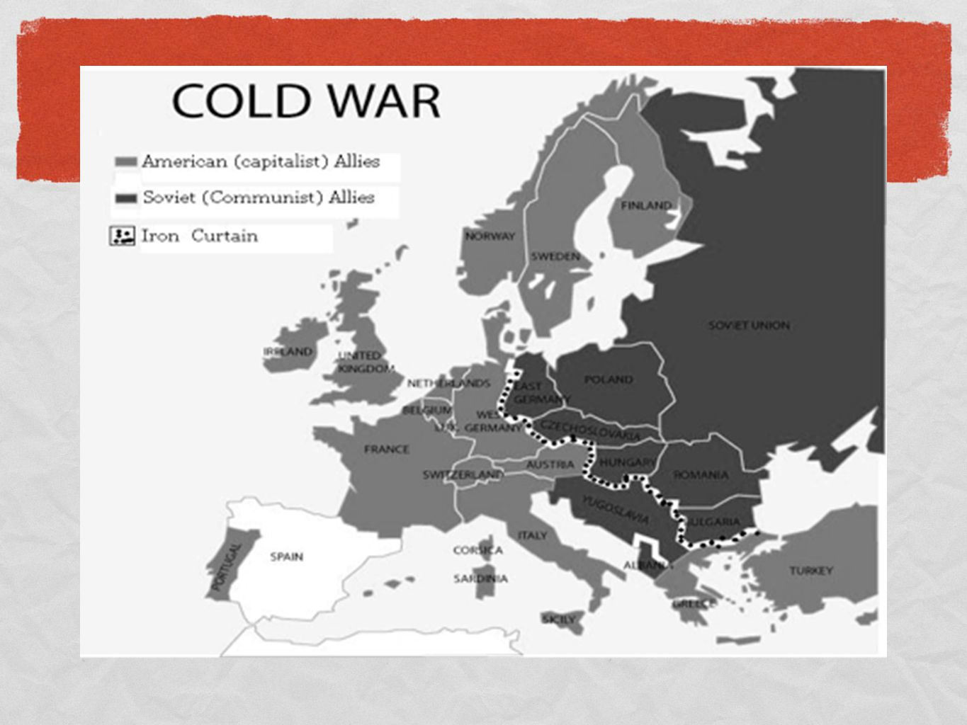 Map of iron curtain