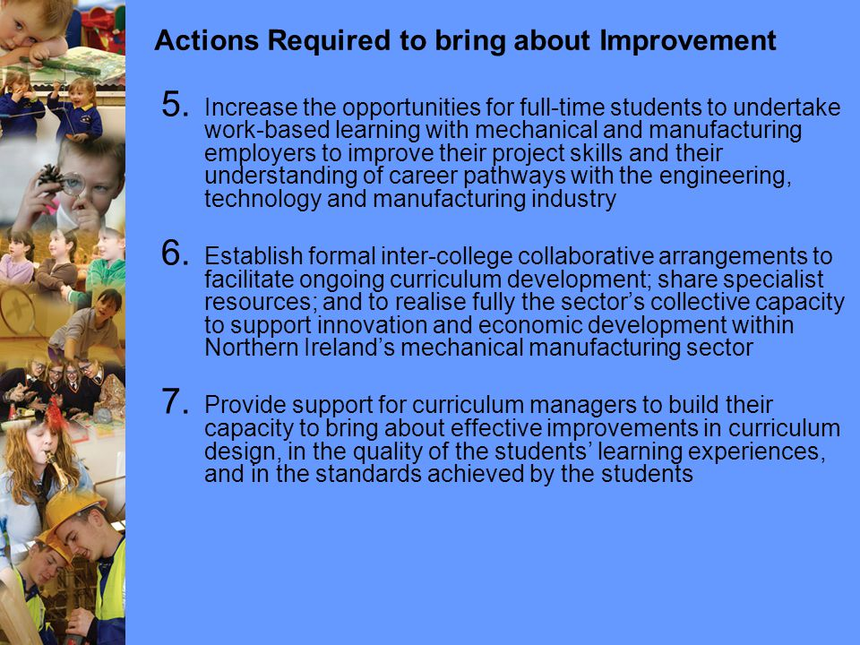 Actions Required to bring about Improvement 5.
