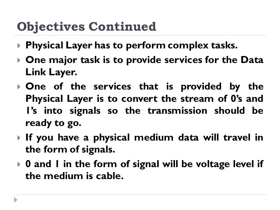 Objectives Continued  Physical Layer has to perform complex tasks.