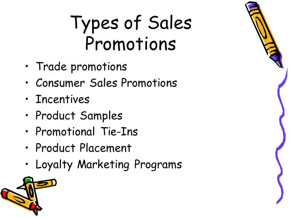Types of Sales Promotions Trade promotions Consumer Sales Promotions Incentives Product Samples Promotional Tie-Ins Product Placement Loyalty Marketing Programs