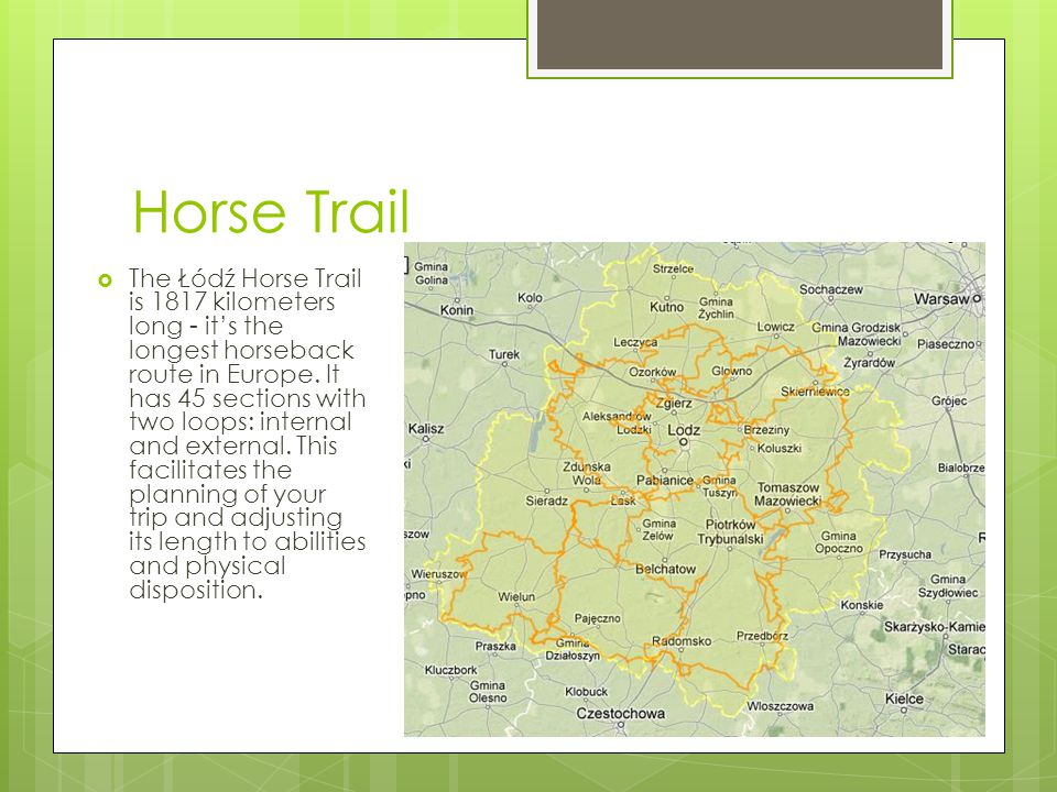 Horse Trail  The Łódź Horse Trail is 1817 kilometers long - it's the longest horseback route in Europe.