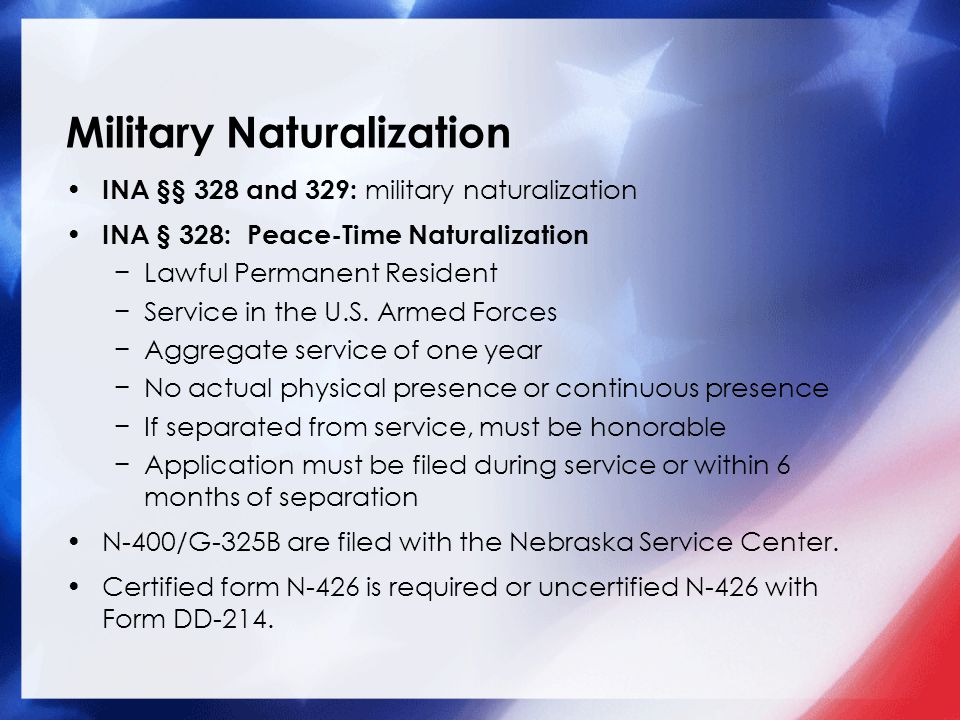 U.S. Immigration Laws for Military Personnel & Family Presented by ...