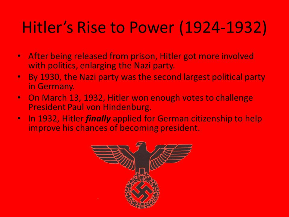 the rise of hitlers nazi party to power Hitler's thirty days to power, by the historian henry ashby turner, describes the political machinations that allowed hitler to seize the chancellorship of germany.
