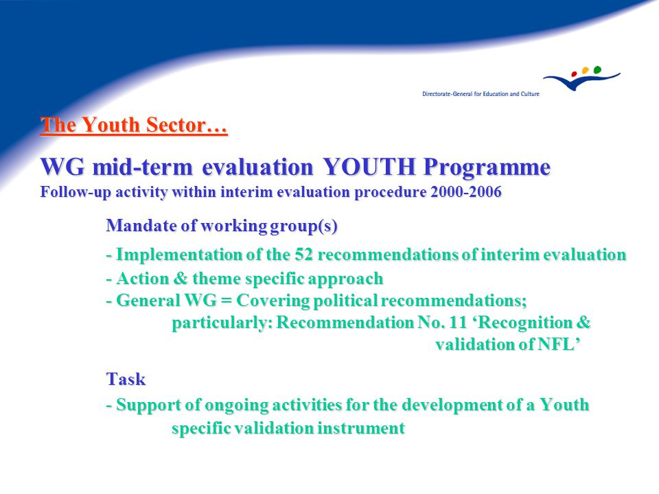 The Youth Sector… WG mid-term evaluation YOUTH Programme Follow-up activity within interim evaluation procedure Mandate of working group(s) - Implementation of the 52 recommendations of interim evaluation - Action & theme specific approach - General WG = Covering political recommendations; particularly: Recommendation No.
