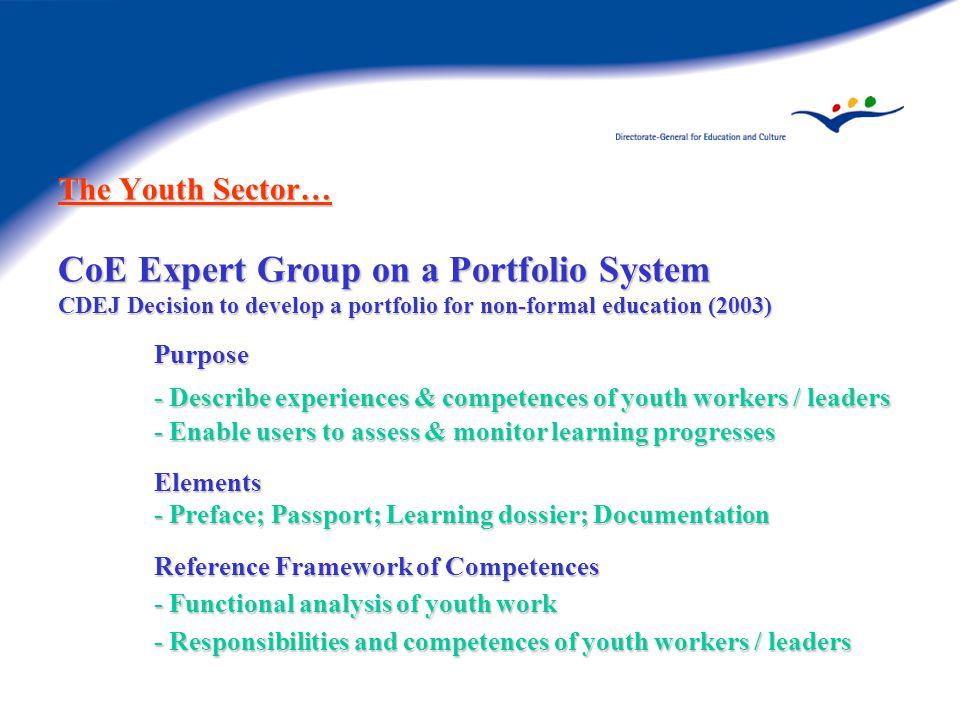 The Youth Sector… CoE Expert Group on a Portfolio System CDEJ Decision to develop a portfolio for non-formal education (2003) Purpose - Describe experiences & competences of youth workers / leaders - Enable users to assess & monitor learning progresses Elements - Preface; Passport; Learning dossier; Documentation Reference Framework of Competences - Functional analysis of youth work - Responsibilities and competences of youth workers / leaders
