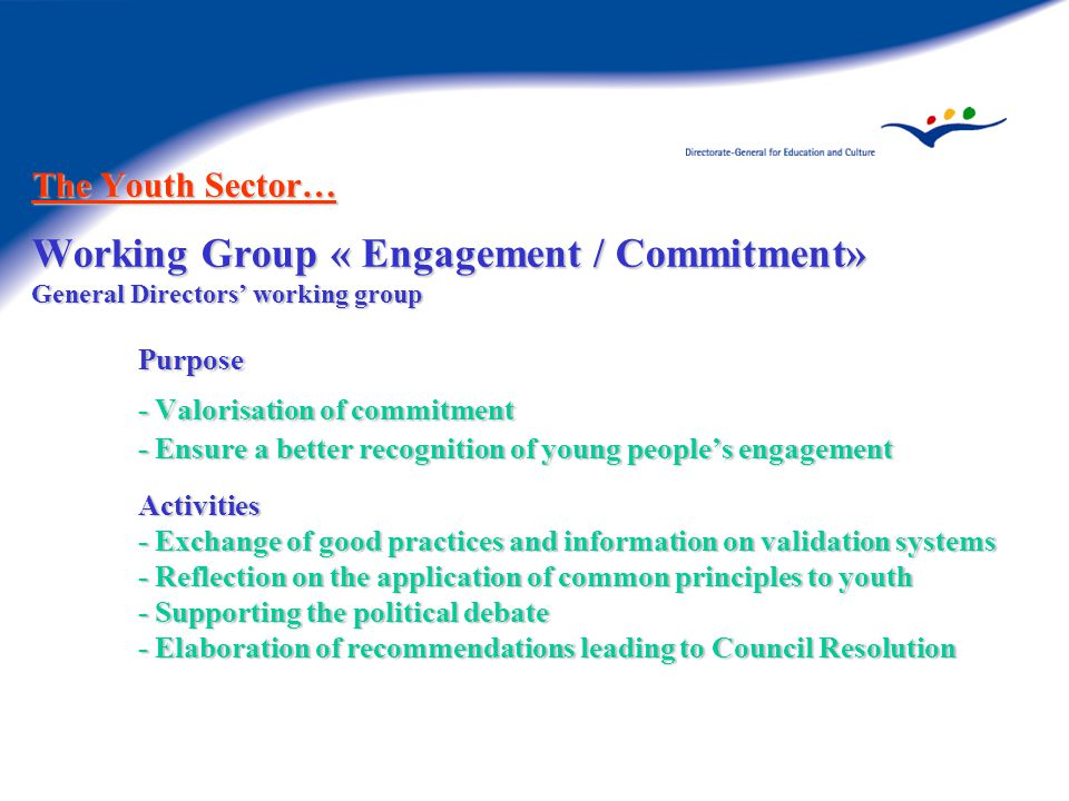 The Youth Sector… Working Group « Engagement / Commitment» General Directors' working group Purpose - Valorisation of commitment - Ensure a better recognition of young people's engagement Activities - Exchange of good practices and information on validation systems - Reflection on the application of common principles to youth - Supporting the political debate - Elaboration of recommendations leading to Council Resolution