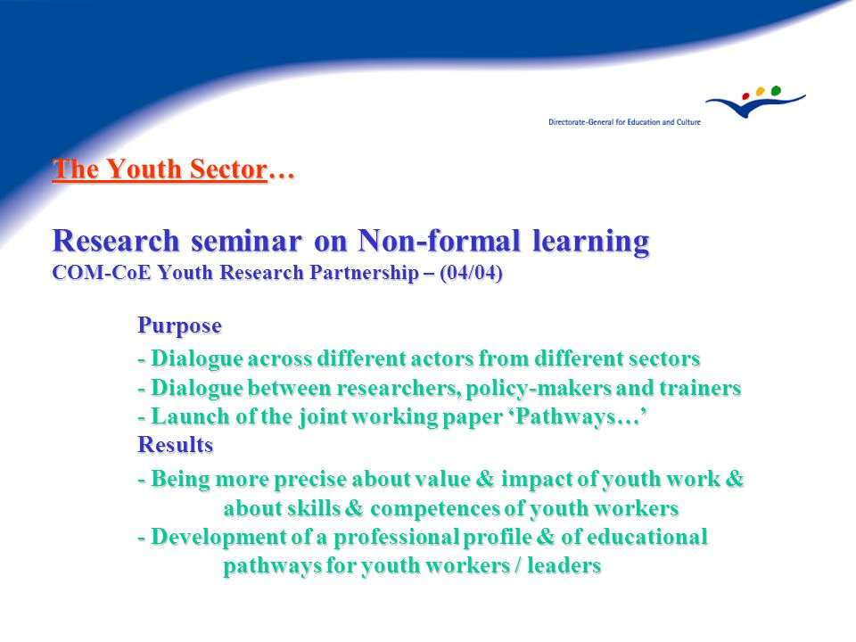 The Youth Sector… Research seminar on Non-formal learning COM-CoE Youth Research Partnership – (04/04) Purpose - Dialogue across different actors from different sectors - Dialogue between researchers, policy-makers and trainers - Launch of the joint working paper 'Pathways…' Results - Being more precise about value & impact of youth work & about skills & competences of youth workers - Development of a professional profile & of educational pathways for youth workers / leaders