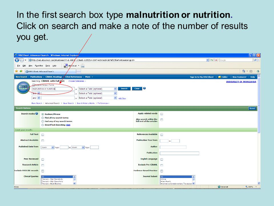 In the first search box type malnutrition or nutrition.