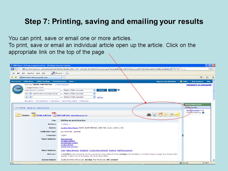 Step 7: Printing, saving and  ing your results You can print, save or  one or more articles.