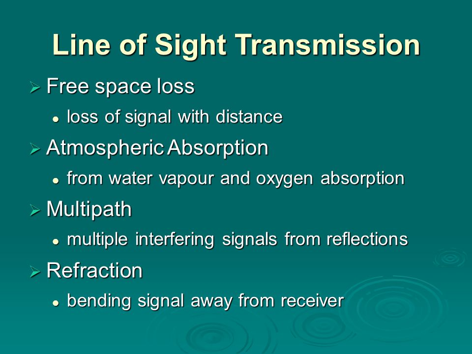 Line of Sight Transmission  Free space loss loss of signal with distance loss of signal with distance  Atmospheric Absorption from water vapour and oxygen absorption from water vapour and oxygen absorption  Multipath multiple interfering signals from reflections multiple interfering signals from reflections  Refraction bending signal away from receiver bending signal away from receiver