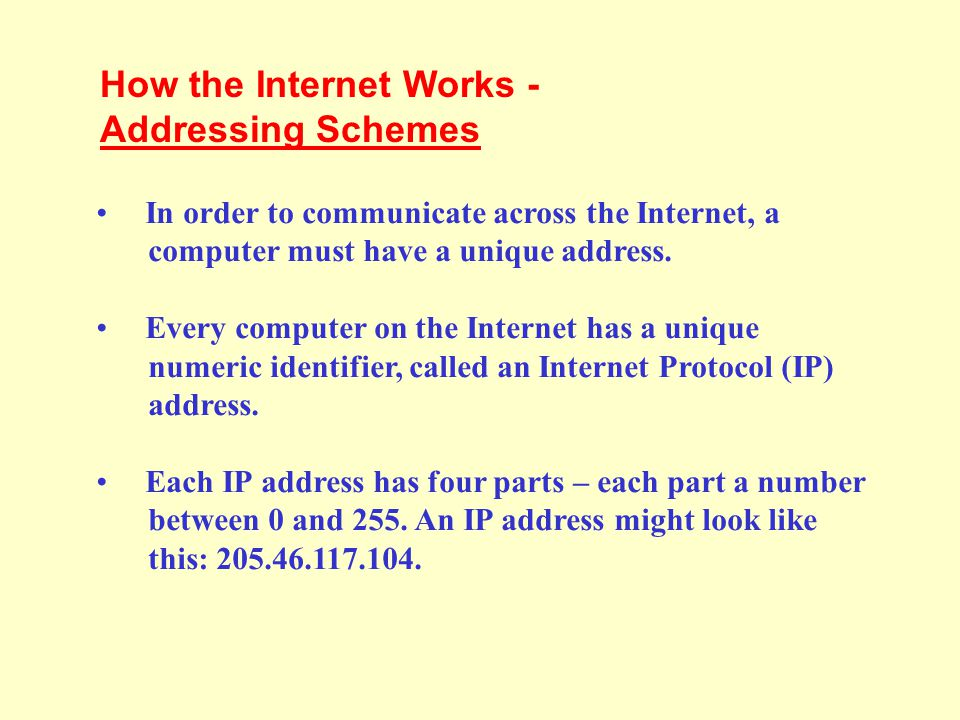 In addition to an IP address, most Internet hosts or servers have a Domain Name System (DNS) address, which uses words.