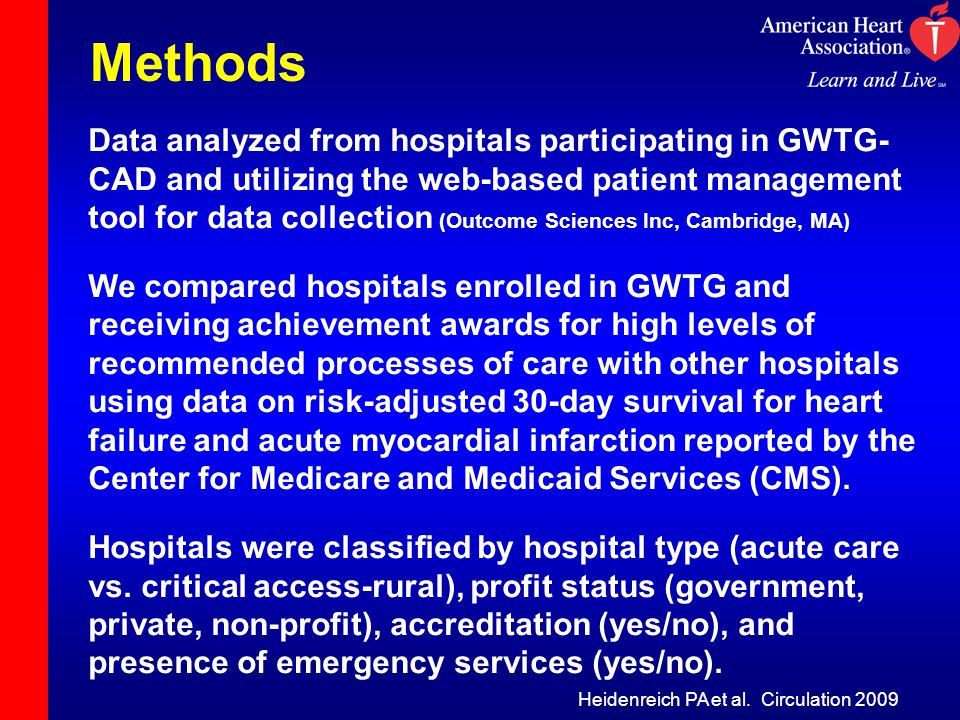 Methods Data analyzed from hospitals participating in GWTG- CAD and utilizing the web-based patient management tool for data collection (Outcome Sciences Inc, Cambridge, MA) We compared hospitals enrolled in GWTG and receiving achievement awards for high levels of recommended processes of care with other hospitals using data on risk-adjusted 30-day survival for heart failure and acute myocardial infarction reported by the Center for Medicare and Medicaid Services (CMS).