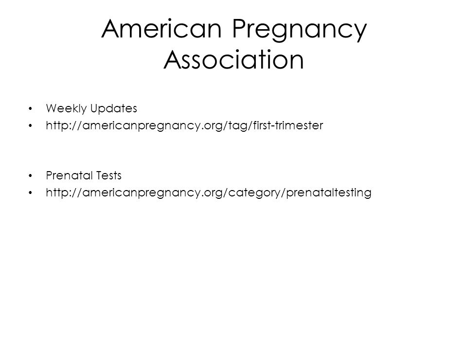 American Pregnancy Association Weekly Updates   Prenatal Tests