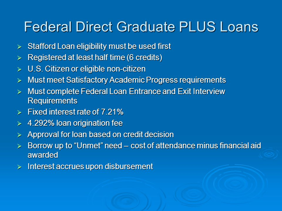 Federal Direct Graduate PLUS Loans  Stafford Loan eligibility must be used first  Registered at least half time (6 credits)  U.S.