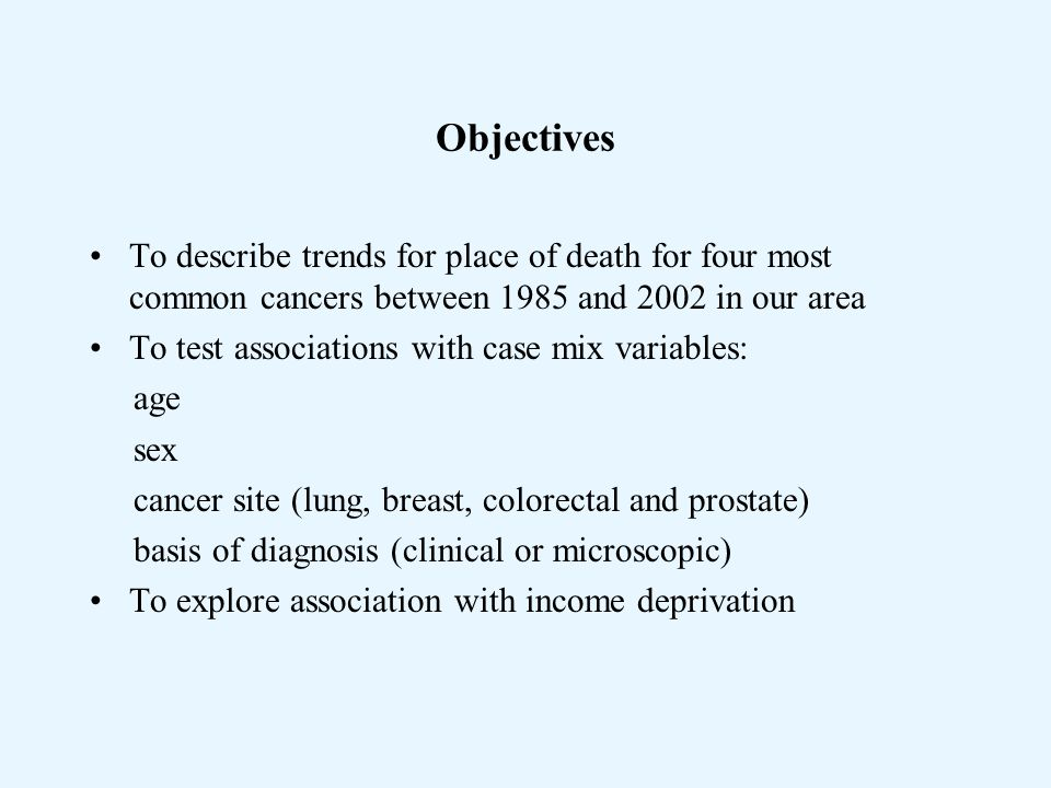 Objectives To describe trends for place of death for four most common cancers between 1985 and 2002 in our area To test associations with case mix variables: age sex cancer site (lung, breast, colorectal and prostate) basis of diagnosis (clinical or microscopic) To explore association with income deprivation