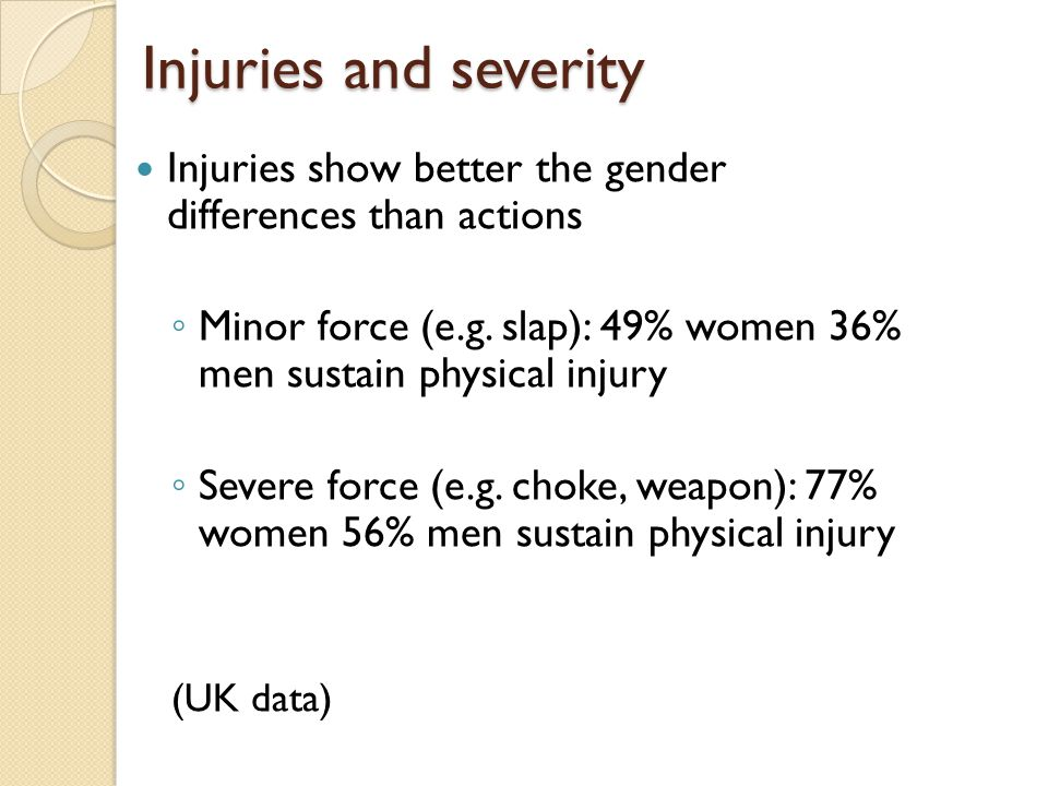 Injuries and severity Injuries show better the gender differences than actions ◦ Minor force (e.g.