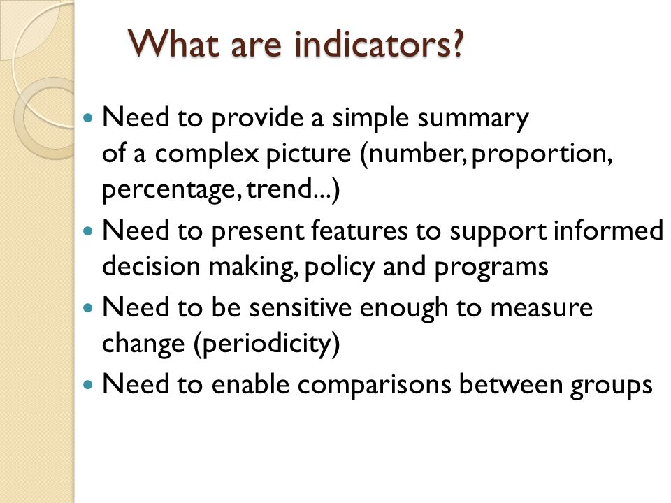What are indicators.
