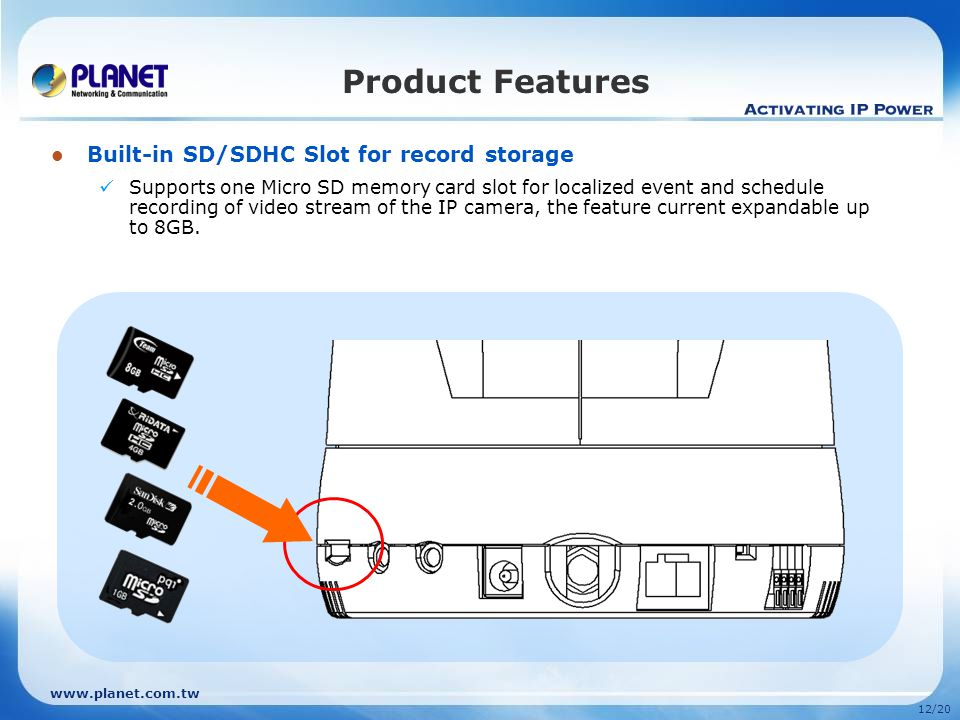 12/20 Built-in SD/SDHC Slot for record storage Supports one Micro SD memory card slot for localized event and schedule recording of video stream of the IP camera, the feature current expandable up to 8GB.