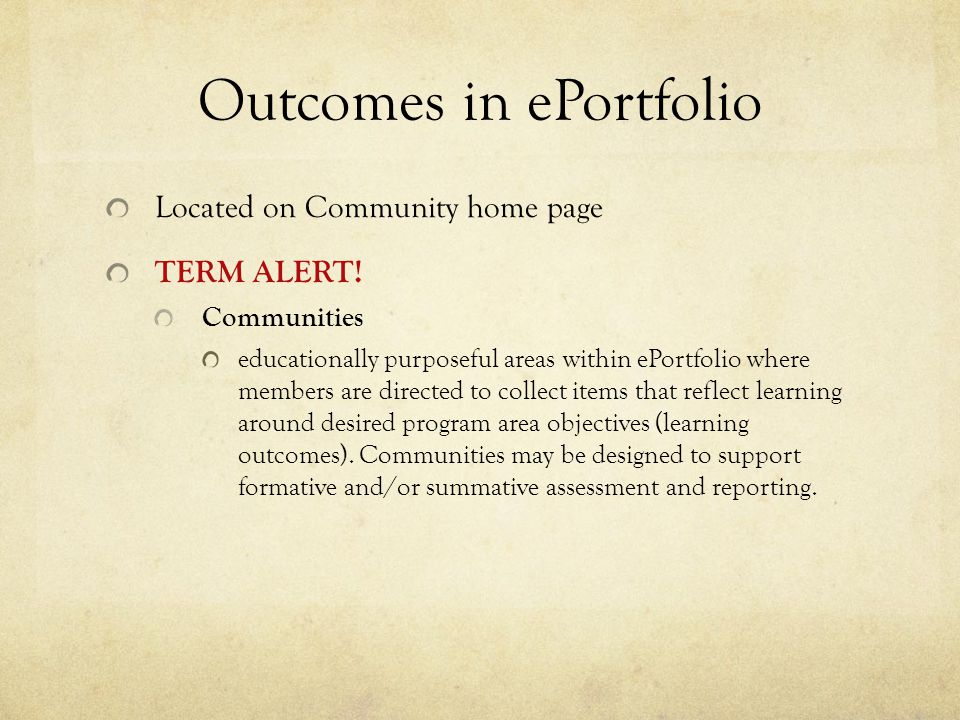 Outcomes in ePortfolio Located on Community home page TERM ALERT.