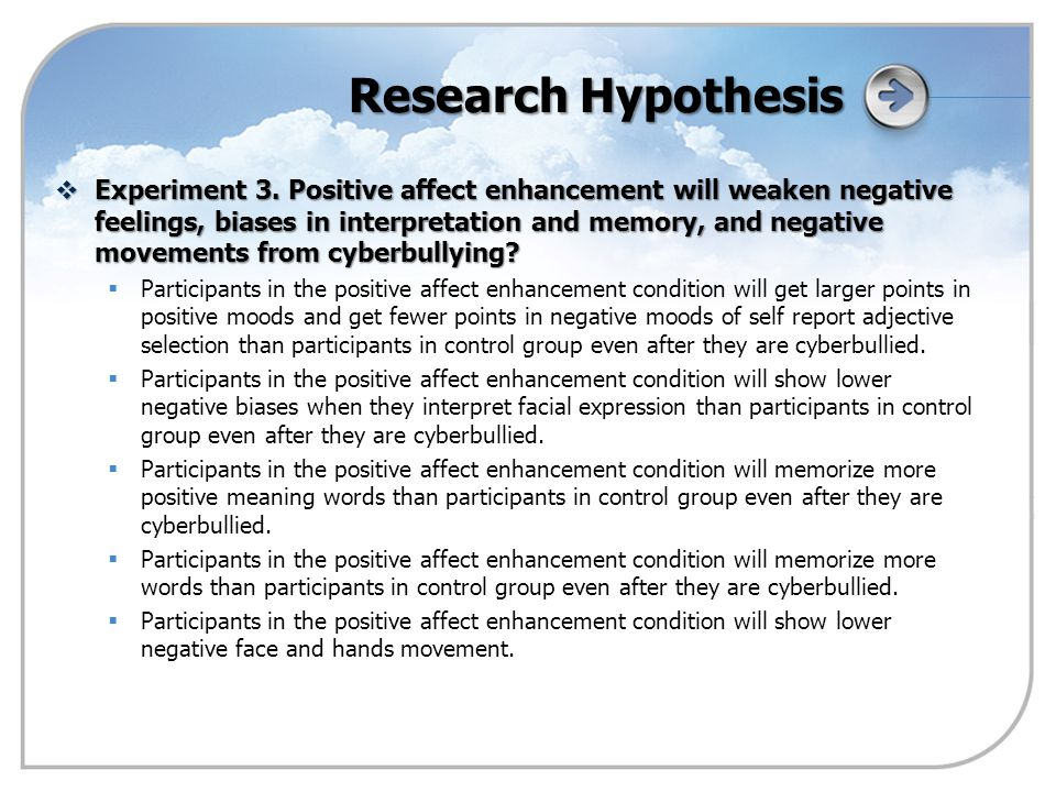 Research Hypothesis  Experiment 3.