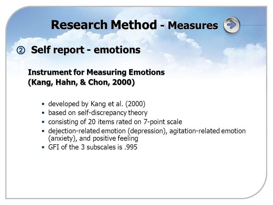 ② Self report - emotions Instrument for Measuring Emotions (Kang, Hahn, & Chon, 2000) developed by Kang et al.