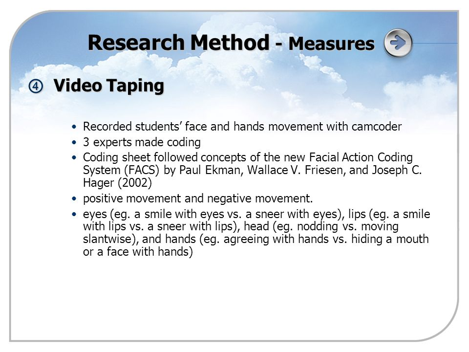 ④ Video Taping Recorded students' face and hands movement with camcoder 3 experts made coding Coding sheet followed concepts of the new Facial Action Coding System (FACS) by Paul Ekman, Wallace V.
