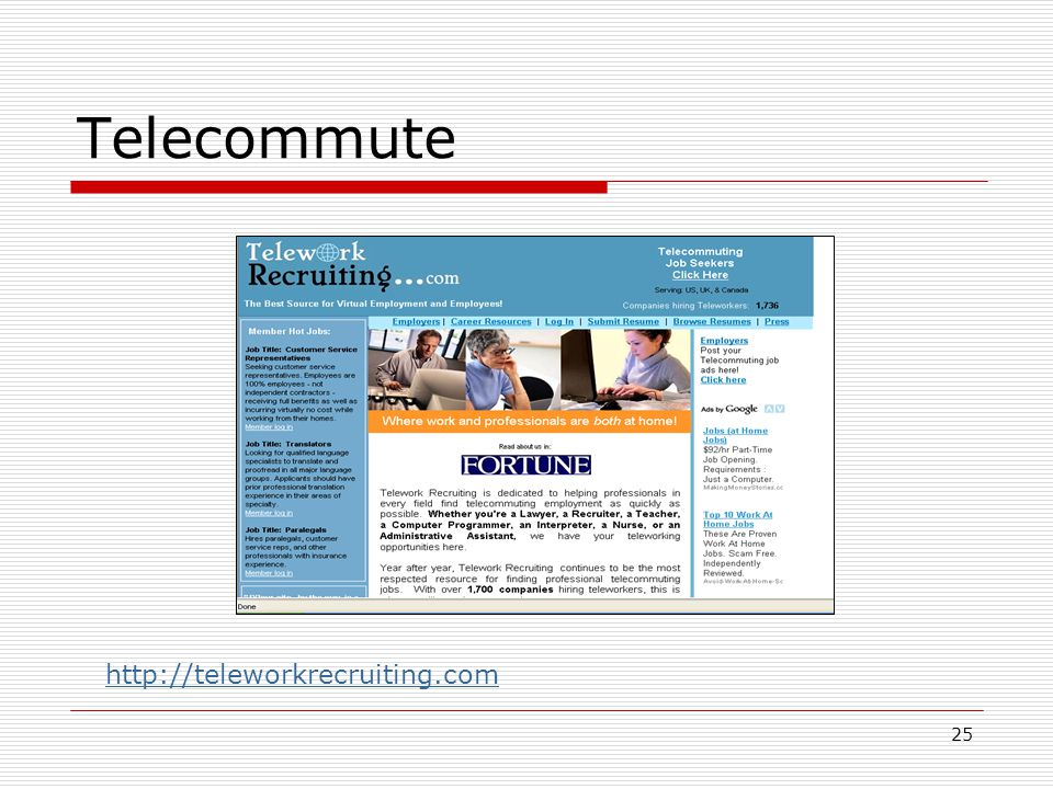 25 Telecommute http://teleworkrecruiting.com