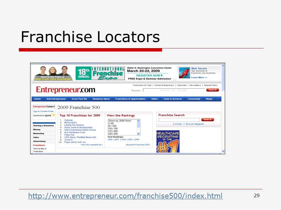 29 Franchise Locators