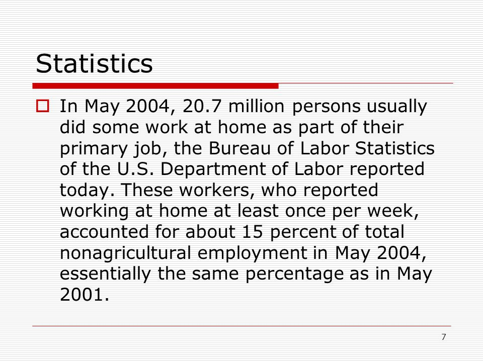 7  In May 2004, 20.7 million persons usually did some work at home as part of their primary job, the Bureau of Labor Statistics of the U.S.