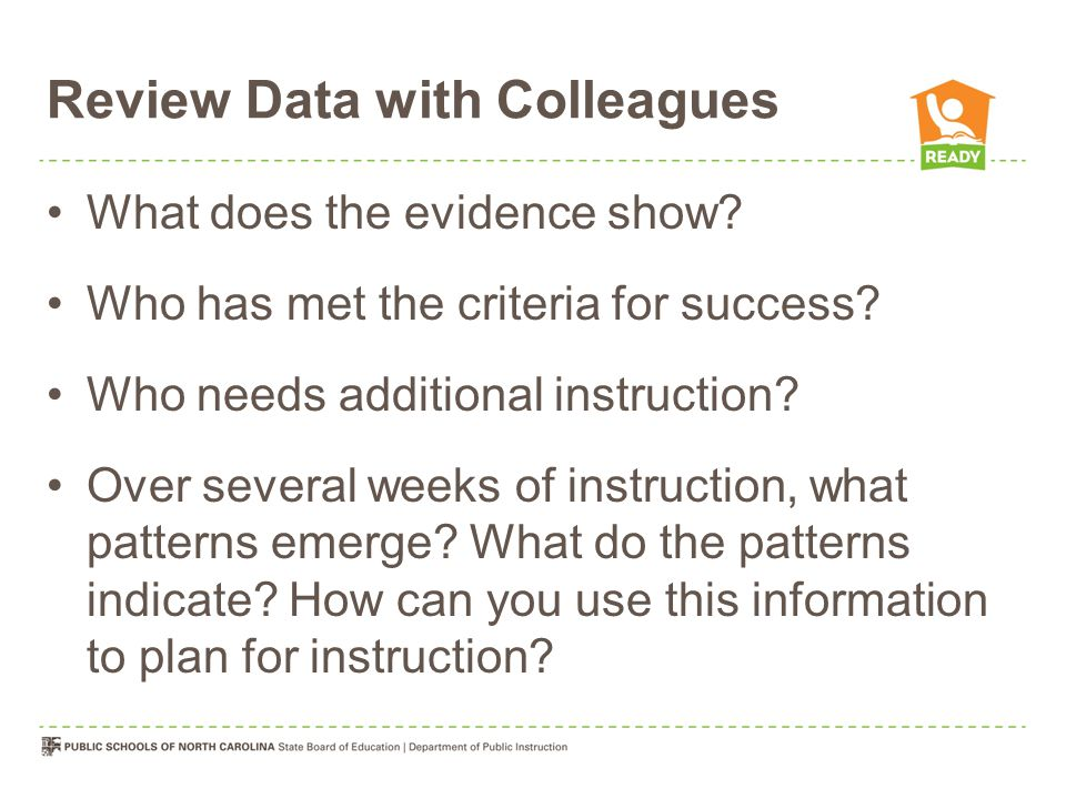 Review Data with Colleagues What does the evidence show.