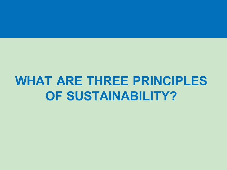 WHAT ARE THREE PRINCIPLES OF SUSTAINABILITY