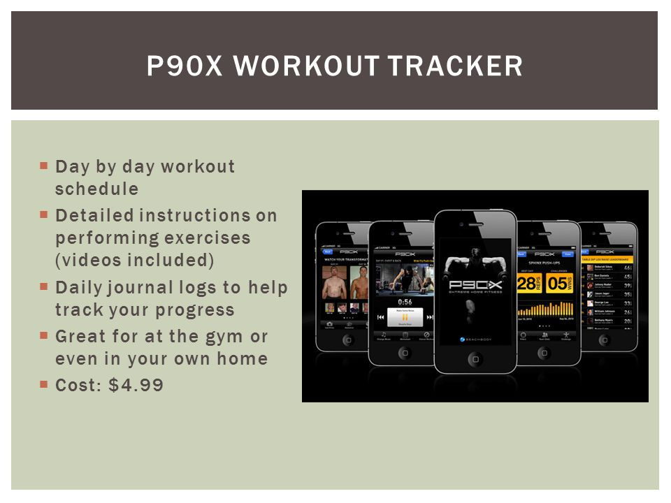 Day by day workout schedule  Detailed instructions on performing exercises (videos included)  Daily journal logs to help track your progress  Great for at the gym or even in your own home  Cost: $4.99 P90X WORKOUT TRACKER