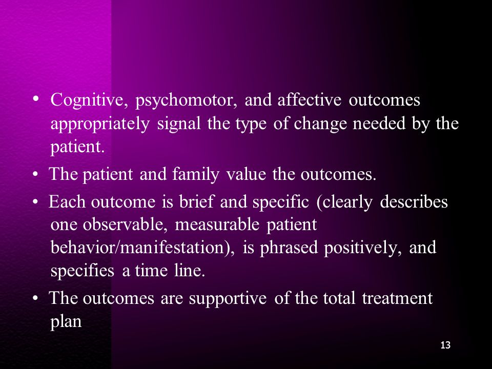 Cognitive, psychomotor, and affective outcomes appropriately signal the type of change needed by the patient.
