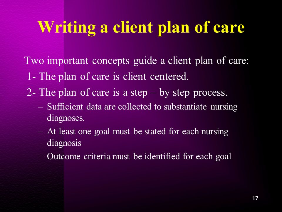 Writing a client plan of care Two important concepts guide a client plan of care: 1- The plan of care is client centered.