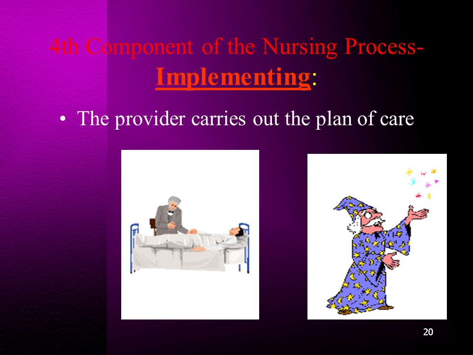 4th Component of the Nursing Process- Implementing: The provider carries out the plan of care 20