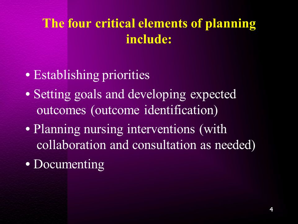 The four critical elements of planning include: Establishing priorities Setting goals and developing expected outcomes (outcome identification) Planning nursing interventions (with collaboration and consultation as needed) Documenting 4