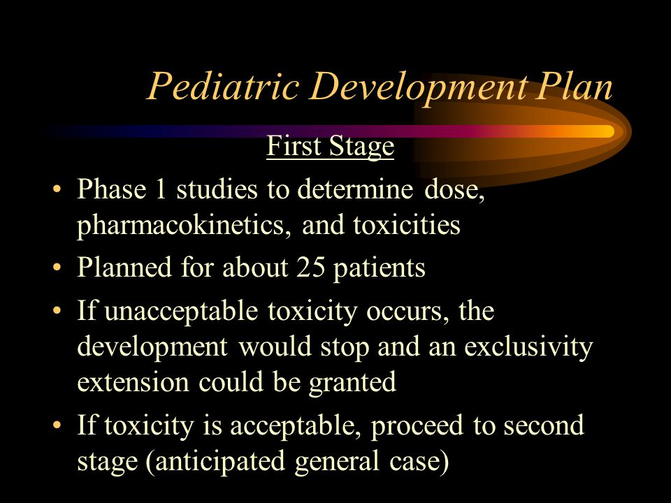Pediatric Development Plan First Stage Phase 1 studies to determine dose, pharmacokinetics, and toxicities Planned for about 25 patients If unacceptable toxicity occurs, the development would stop and an exclusivity extension could be granted If toxicity is acceptable, proceed to second stage (anticipated general case)