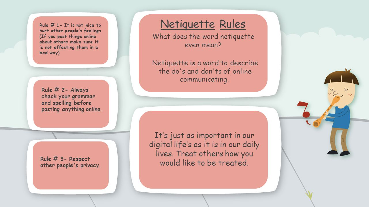 describing netiquette and its rules Unlike most editing & proofreading services, we edit for everything: grammar, spelling, punctuation, idea flow, sentence structure, & more get started now.