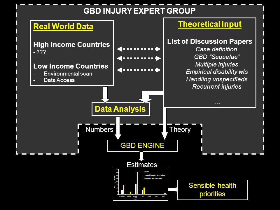 GBD ENGINE Estimates Sensible health priorities TheoryNumbers Theoretical Input List of Discussion Papers Case definition GBD Sequelae Multiple injuries Empirical disability wts Handling unspecifieds Recurrent injuries … Real World Data High Income Countries - .